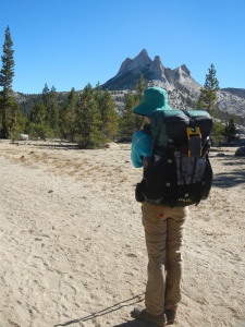 We cross over Cathedral Pass, somewhere on a gently sloping trail