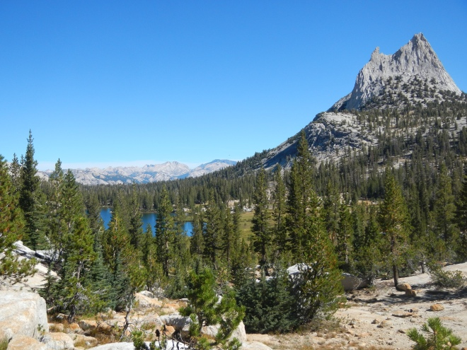 My first glimpse of Cathedral Lake, coming down from the pass. Beautiful!