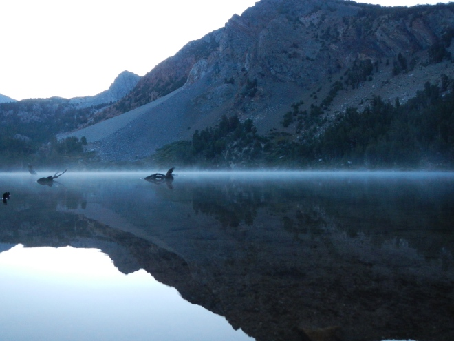 Morning mist on Purple Lake.