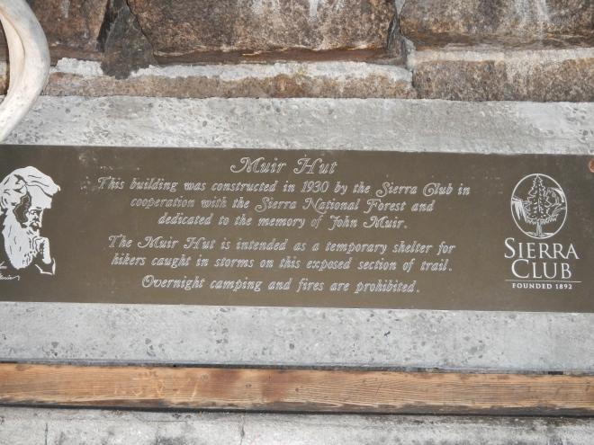 The plaque inside the John Muir hut.