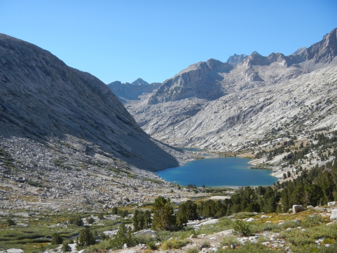 Looking back as we climbed to Mather Pass, we had beautiful views of Palisades Lakes.