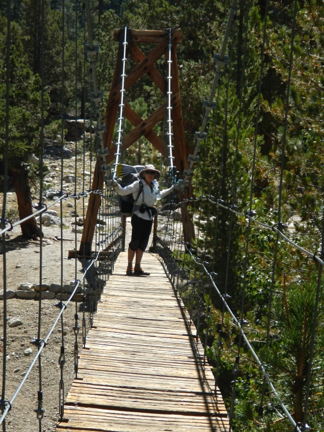 The suspension bridge, built in the 1980's, replaces a series of bridges that had gotten repeatedly washed out.