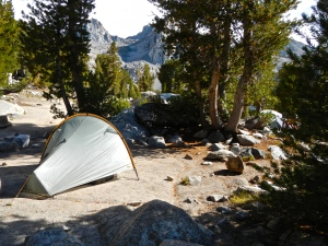 My campsite, and the tent where I spent a good part of the day.