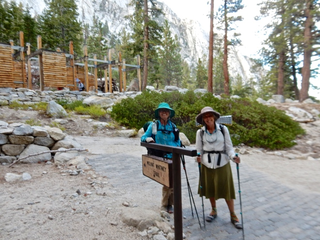 Betty and I arrive at Whitney Portal, tired but happy and ready to eat french fries. photo: Dwight Worden