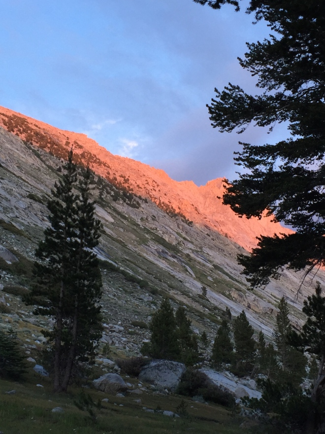 Alpenglow, as photographed from my tent.