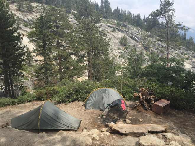 Our last campsite, above the creek.