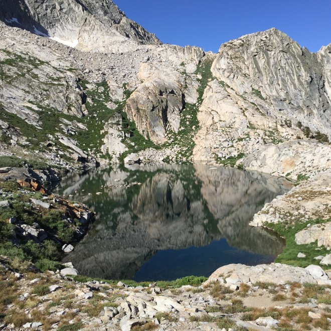 This is the little lake before Precipice. There's still a lot of climbing to do to get to Precipice. I didn't know what to expect, and considered just camping here instead of continuing. I decided against it, and am glad I did.