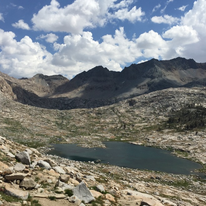 Another view into 9 Lakes Basin from Kaweah Gap.