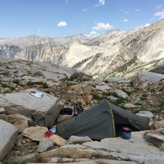 My little tent site above Precipice. Up here, one is usually sleeping on hard granite. So a sleeping pad that won't stay inflated is a real problem. Grrrr.