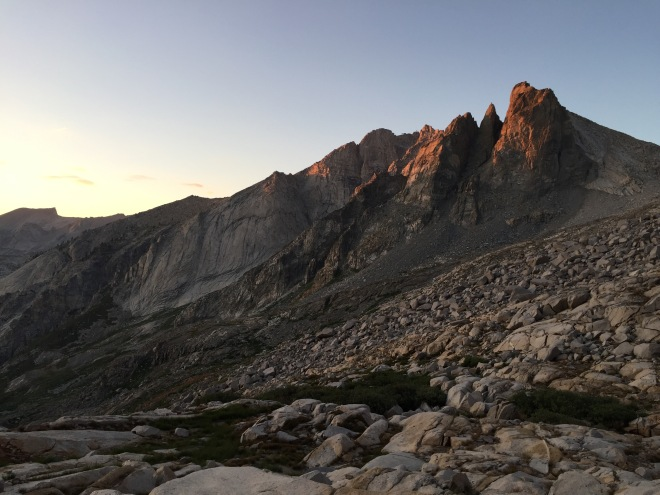Last of the sunlight on the peaks above Precipice.